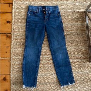 Jcrew button fly raw hem vintage straight jeans